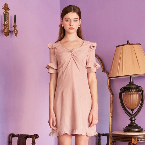 SHIMMER SHIRRING DRESS_PINK