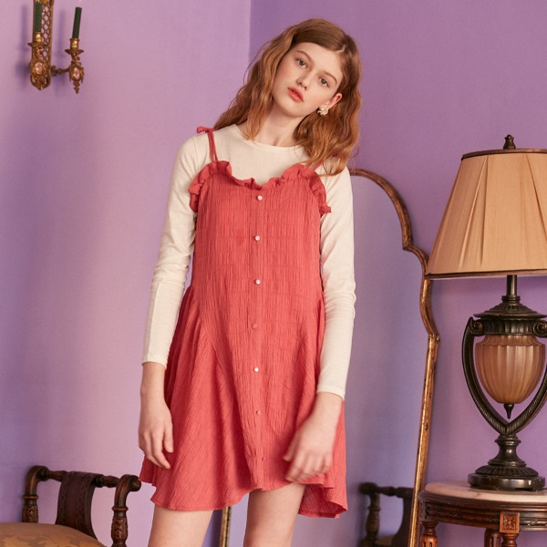 SHOULDER RIBBON DRESS_RED