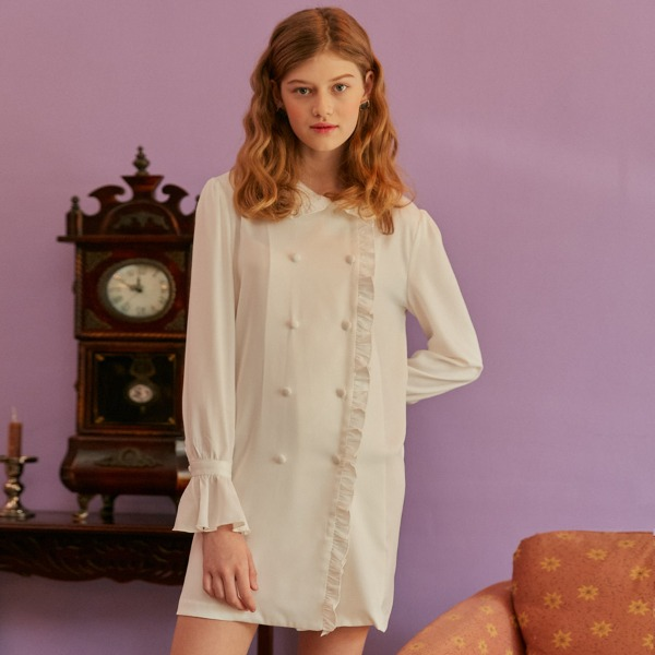 FRILL COLLAR DRESS_WHITE