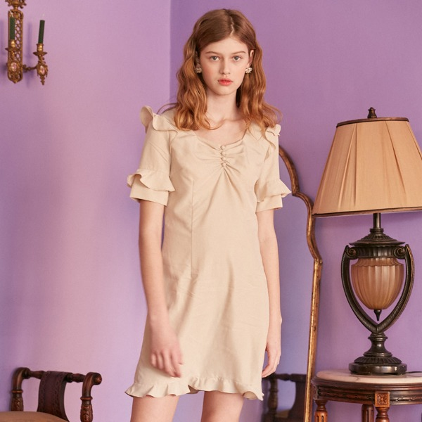 SHIMMER SHIRRING DRESS_BEIGE