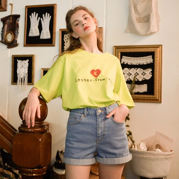 HAND DRAWING BIG HEART LOGO T- SHIRTS ( LIME )