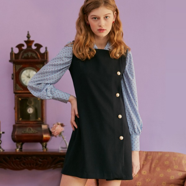 PEARL BUTTON DRESS_NAVY